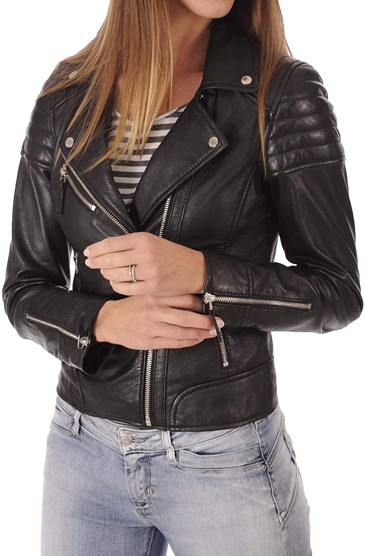 Womens Stylish Genuine Lambskin Motorcycle Bomber Biker Leather Jacket WJ 14