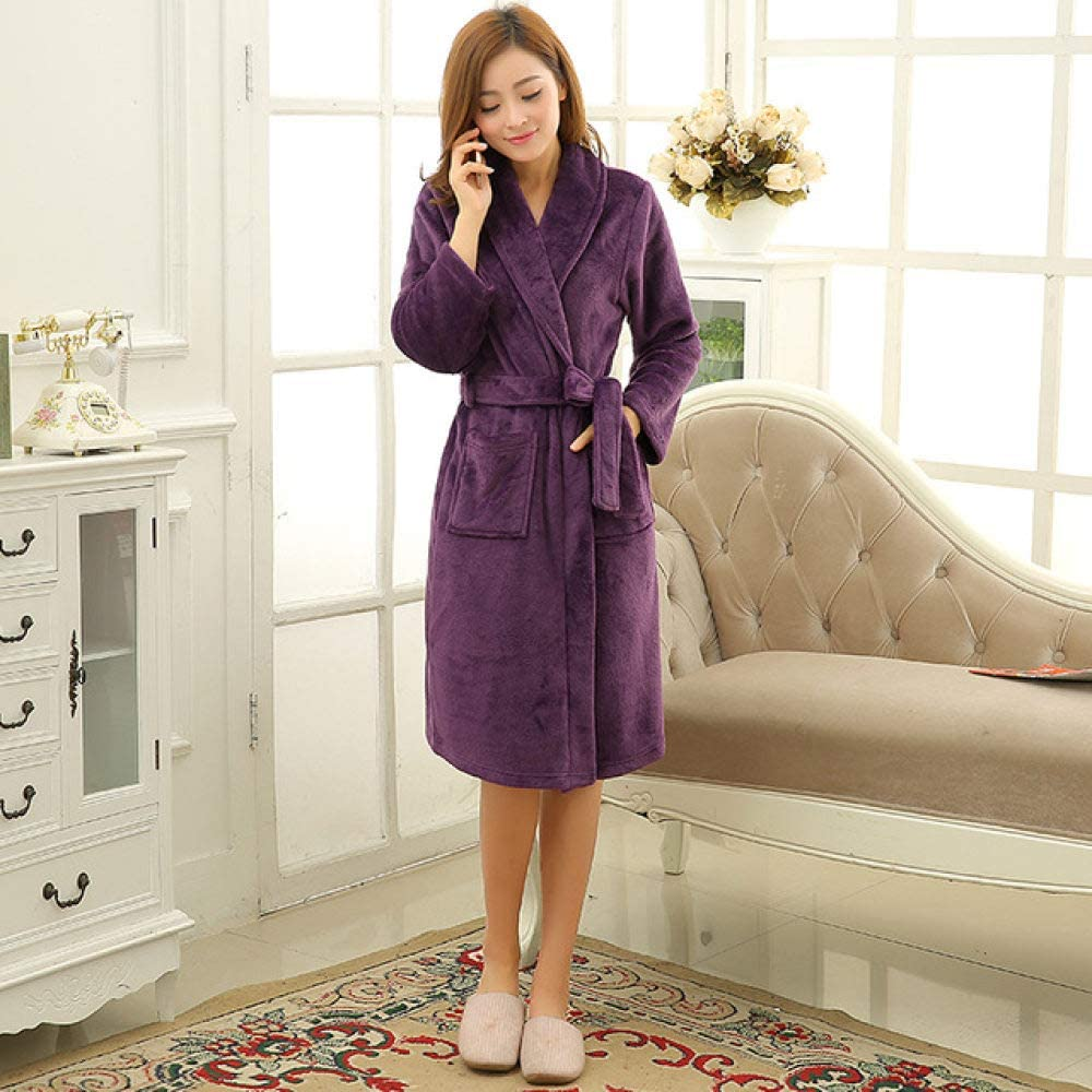 llwannr Bathrobe Robe Nightgown Sleep,Men Women Luxury Winter Bathrobe Mens Warm Silk Flannel Long Kimono Bath Robe Male Bathrobes Lovers Night Dressing Gown,Women Purple,M