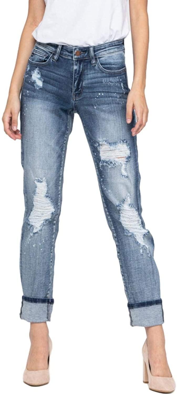 Judy Blue Jeans Distressed Cuffed Boyfriend Jeans
