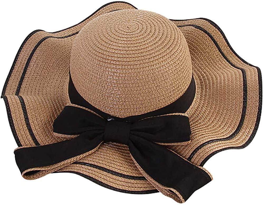 ChezAbbey Women Wide Brim Bowknot Decor Straw Hats Foldable Roll up Floppy UPF50 Summer Beach Sun Hats