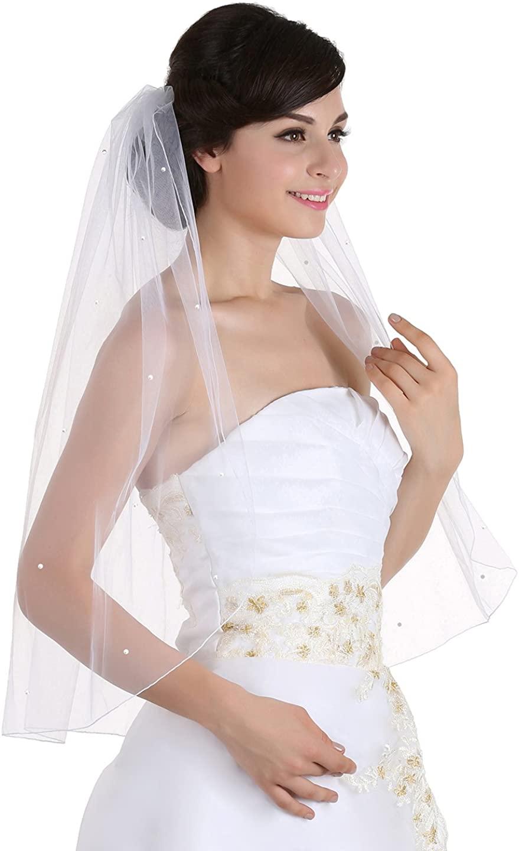 SAMKY 1T 1 Tier Pencil Edge Rhinestone Crystal Wedding Veil
