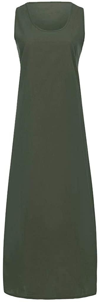 SONIGER Women Linen O-Neck Sleeveless & Long Sleeve Loose Big Swing Beach Maxi Dresses
