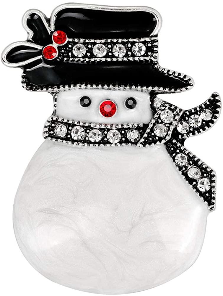 YAZILIND Rhinestone Snowman Hat Scarf Christmas Breastpin Corsage Women Brooch Pins Xmas Jewelry