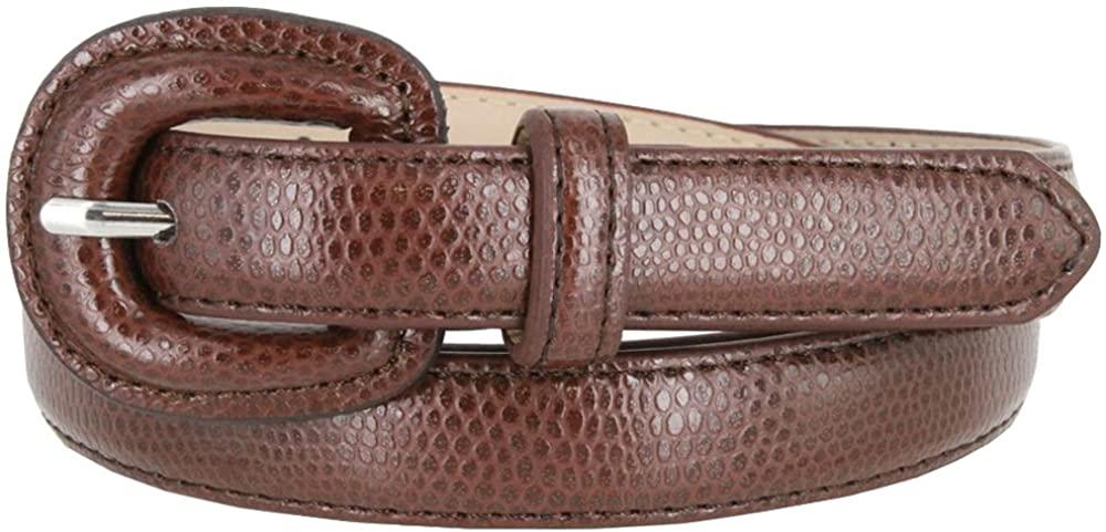 Womens BROWN Skinny Snakeskin Embossed Genuine Leather Dress Casual Belt 3/4 Wide M Size