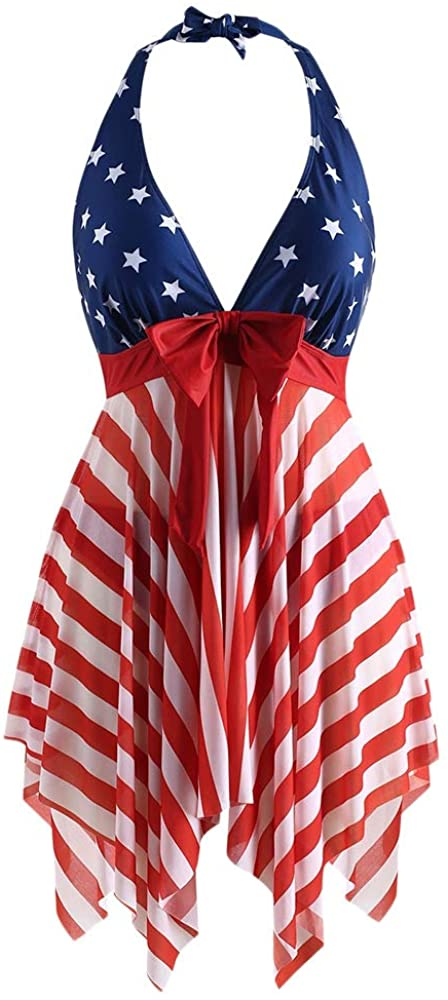 COMFKEY Plus Size Halter Swimsuits for Women Tankini Set Tummy Control, American Flag Stars and Strips Print Asymmetrical Hem