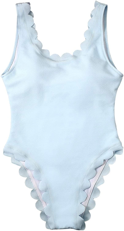 Women's One Piece Wavy Edge Trim Backless Bikini Padded Tummy Control Swimwear Swimsuit Bathing Suit Monokini