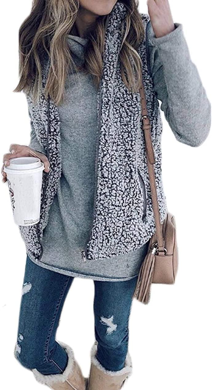 Yoawdats Women Zip up Faux Fur Fleece Shearling Sherpa Vest Coat Winter Warm Jacket