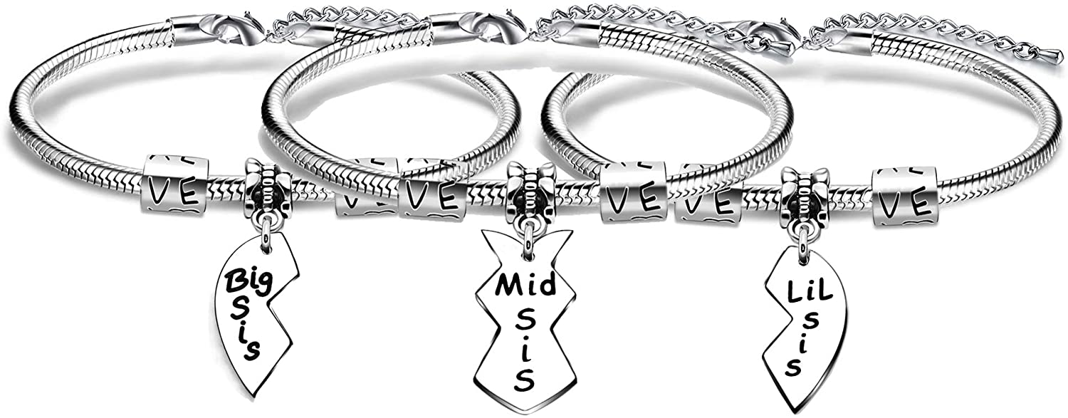 AGR8T 3PCS Sister Bracelets Sister Jewellery Gifts Birthday Big Middle Little Sisters