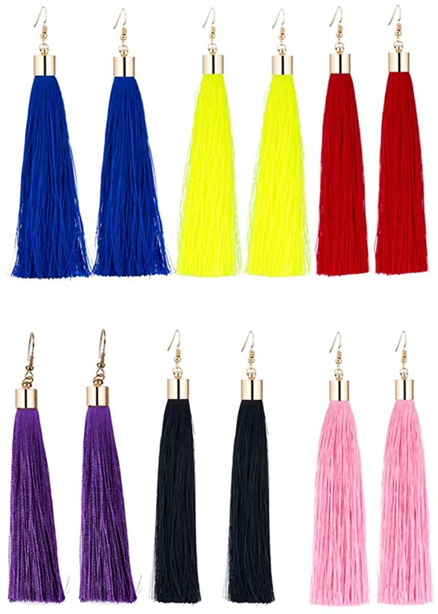 Charm Girls Long Tassel Drop Earrings Handmade Bohemia Tassel Earrings for Women