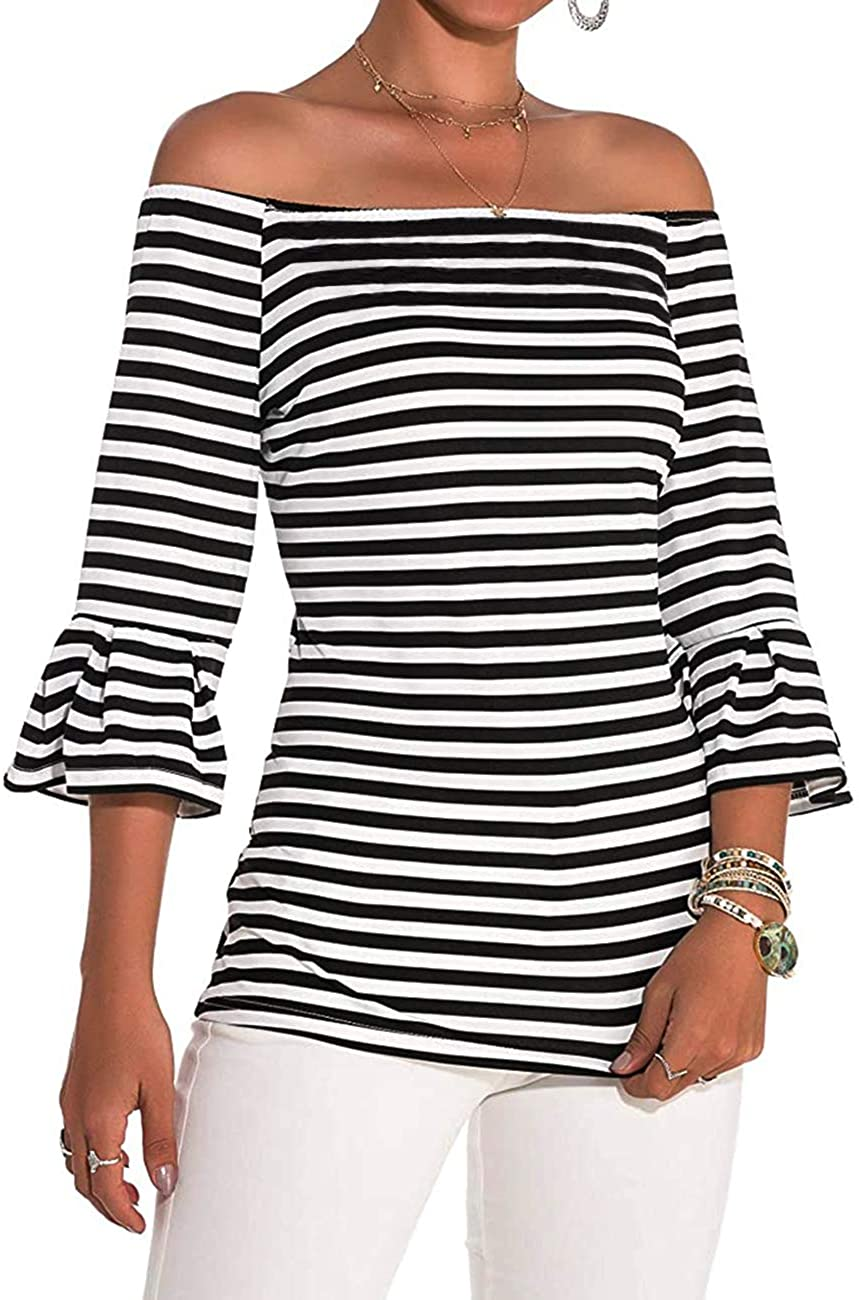 MAYFASEY Womens Off Shoulder Tops Stretch Flared 3 4 Sleeve Striped T Shirt Blouse