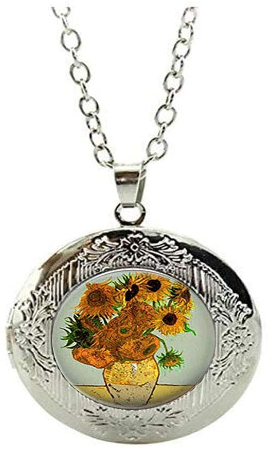 Van Gogh Sunflower Painting Locket Necklace,Art Jewelry,Charm Jewelry Friend Gift