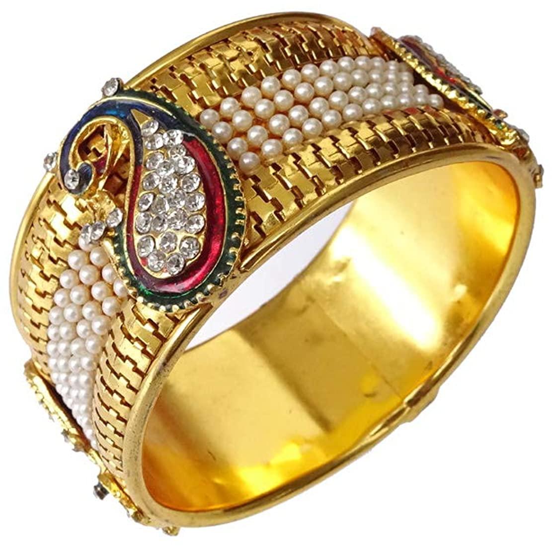 India Jewel Store Bangle Bracelet for Women Girl Unisex Zircon & Pearl Gemstone Authantic Handmade Bangle Bracelet Boho Filigree Ethnic Tribal Bracelet Handmade in Gold Plated