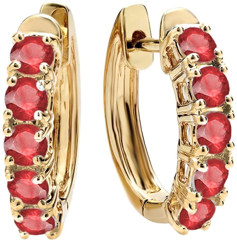 Dazzlingrock Collection 14K Round Lab Created Gemstone Ladies Huggies & Hoop Earrings, Yellow Gold