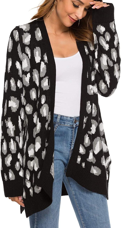 FANCYINN Women Cardigan Leopard Cheetah Knit Sweaters Long Sleeve Coat Open Front Animal Print Loose Outwear