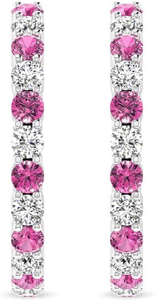 IJ-SI Color Clarity Diamond Gemstone Half Hoop Earrings, 14kt Gold Earrings for Women, Pink Tourmaline Hoop Earrings with IGI Certified Diamonds, clip-on