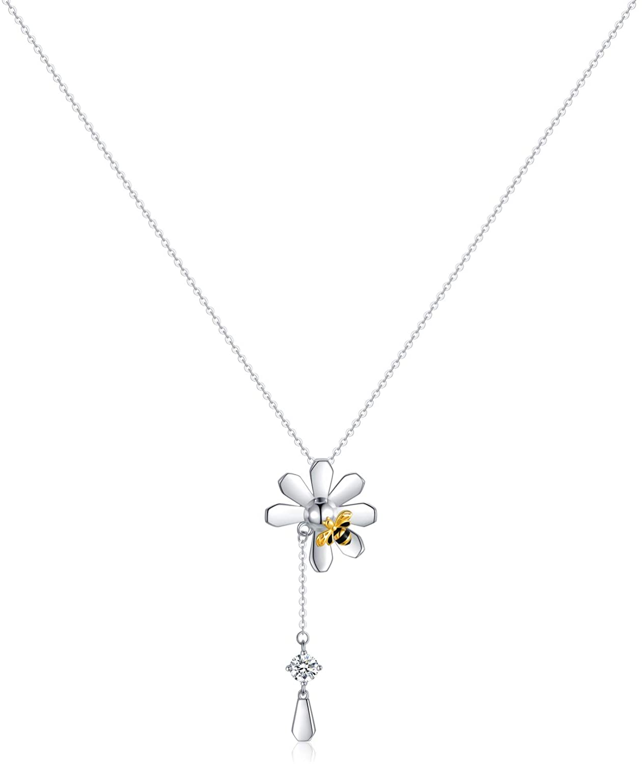 Y Necklace Sterling Silver Daisy Flower Bee Pendant Chain Cute Jewelry Gift for Women Daughter Best Friend 18+2 Inch