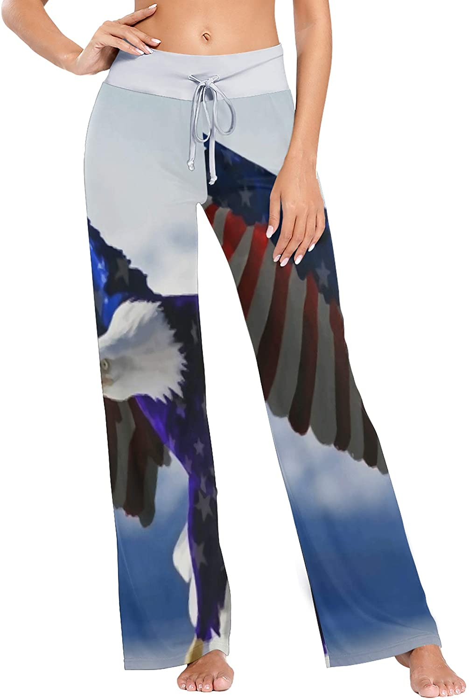 Women's Pajama Pants,American Flag Cool Eagle Drawstring Sleepwear Pants Lounge Yoga Pants Wide Leg Pants for All Seasons