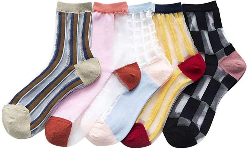 Women Summer Transparent Thin Lace Elastic Socks Crystal Glass Silk Sheer Short Stockings Socks