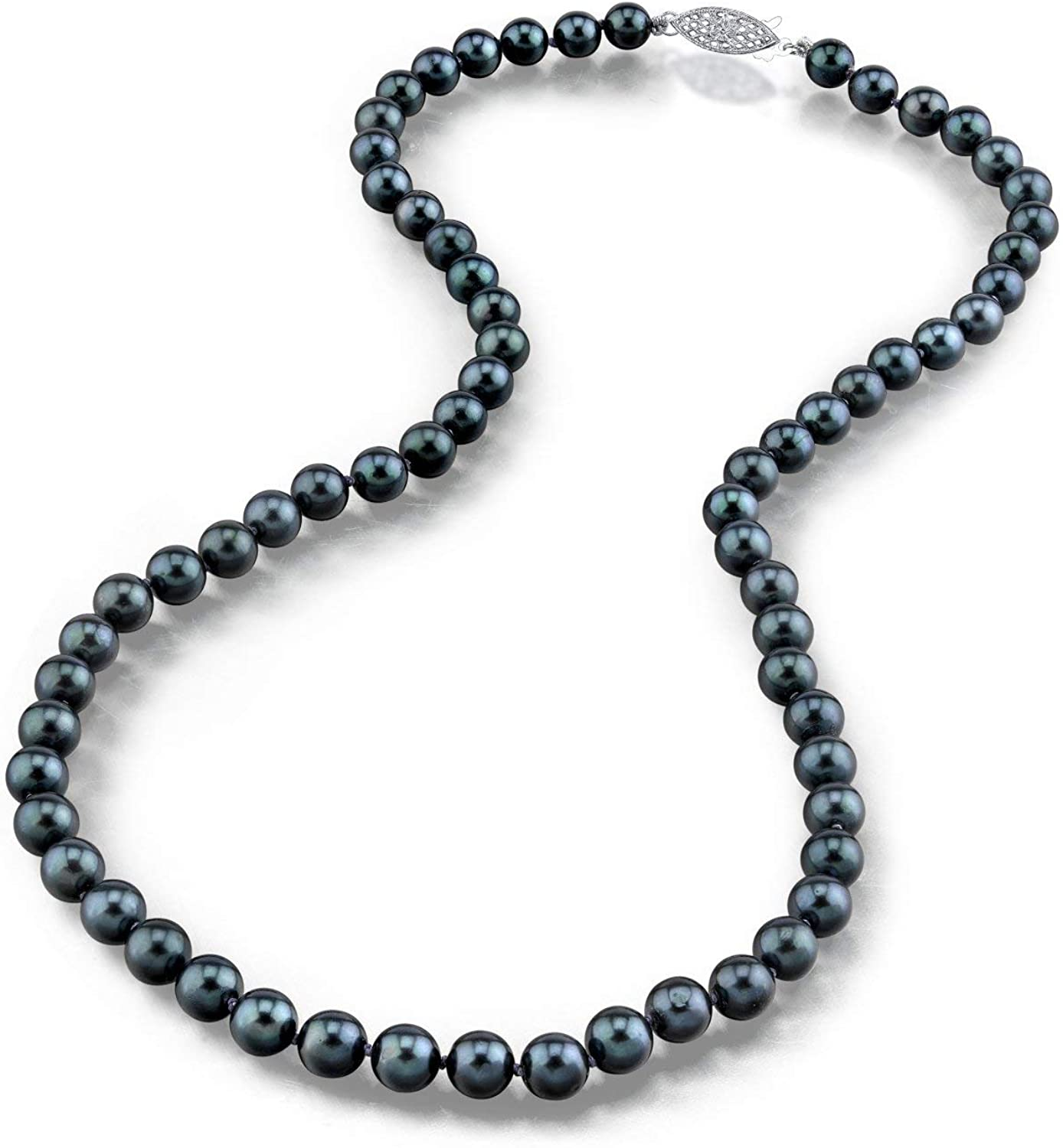 THE PEARL SOURCE 14K Gold 5.0-5.5mm Round Genuine Black Japanese Akoya Saltwater Cultured Pearl Necklace in 20