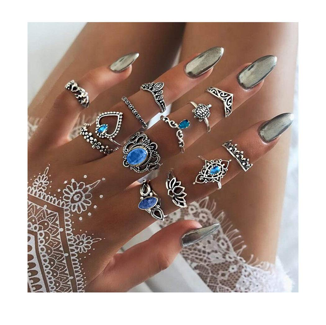 Yokawe Boho Rings Set Silver Crystal Joint Knuckle Turtle Finger Ring Bohemian Carved Finger Mid Elephant Stackable Hand Accessories Jewelry for Women and Girls(Pack of 13)