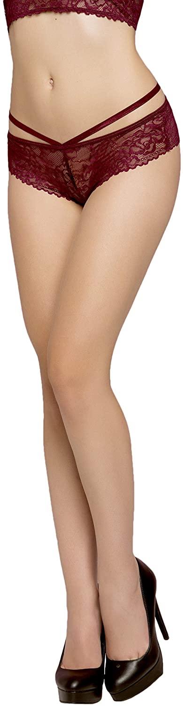 Womens Lattice Back Strappy Rose Lace Panty Boyshort