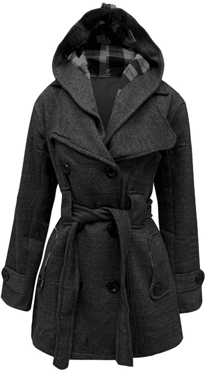 Womens Belted Fleece Hooded Coat Warm Button Up Long Sleeve Jacket Top