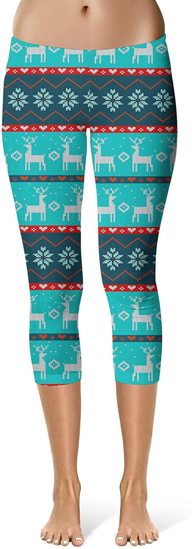 Sport Leggings, Capri Length, Mid Waist - Ugly Christmas Reindeers Sweater Pattern