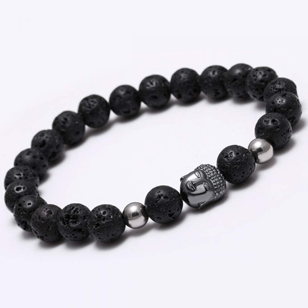 DJPP Volcanic Stone Black Bracelet Natural Stone Bead Buddha Bracelet Men Onyx Tiger Eye Stone Bracelets for Women Bracelet Attend Parties and Give Their Friends The Best Gift.
