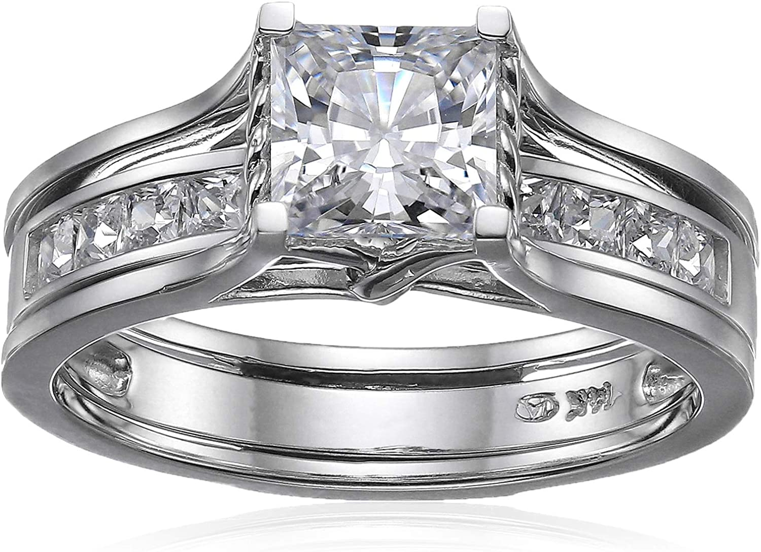 Solid 14k White Gold Bridal Set Princess Cut Solitaire Engagement Ring with Matching Channel Set Wedding Band CZ Cubic Zirconia 2.0ct.