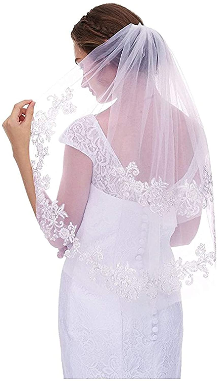 Womens Elegant Lace Appliques Short Wedding Bridal White Veil With Comb
