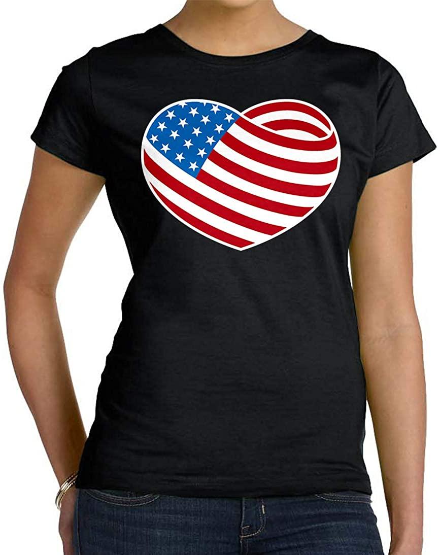 Tenacitee Women's Flag Heart T-Shirt