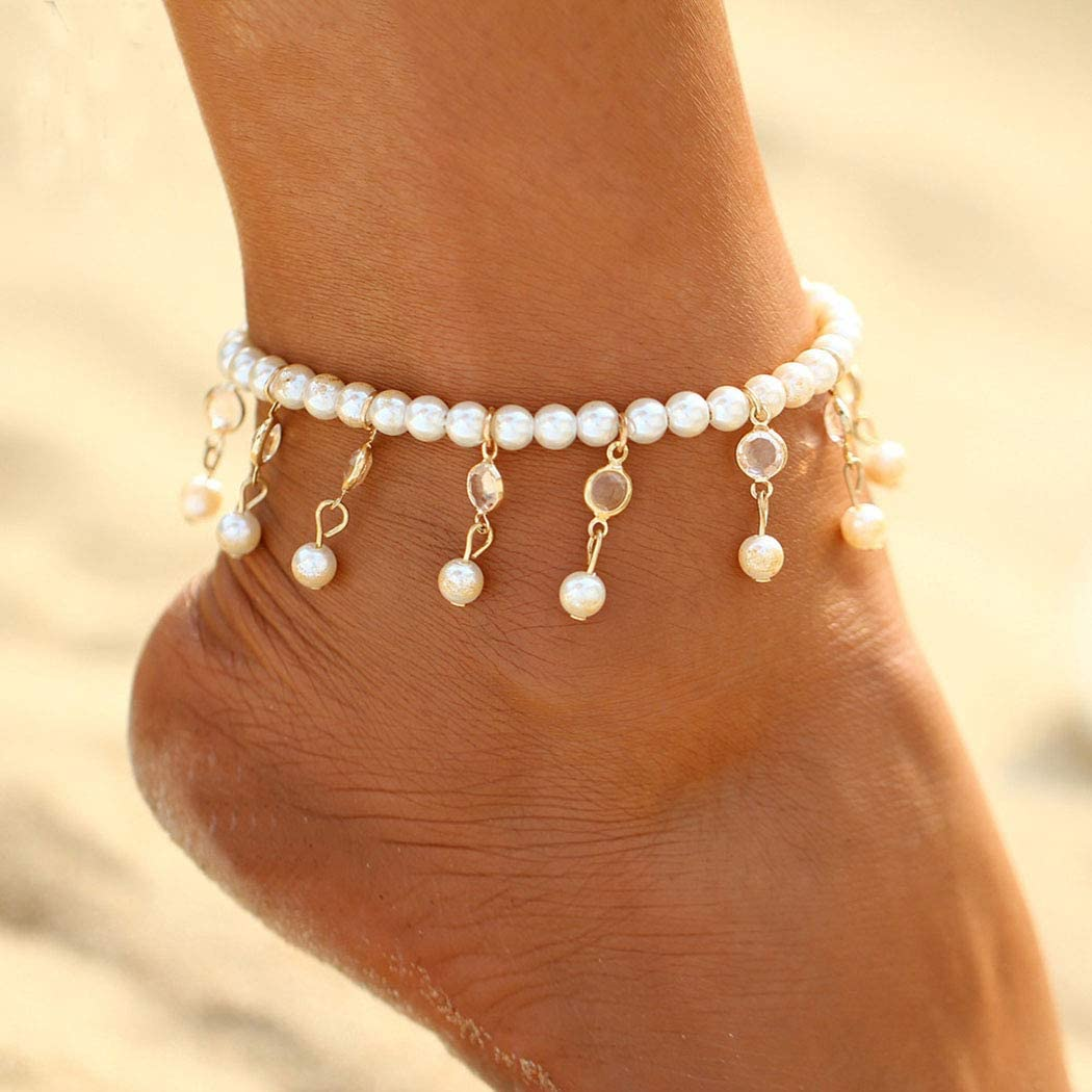 Jeweky Boho Pearl Anklets Gold Crystal Ankle Bracelets Chain Beach Foot Jewelry for Women and Girls