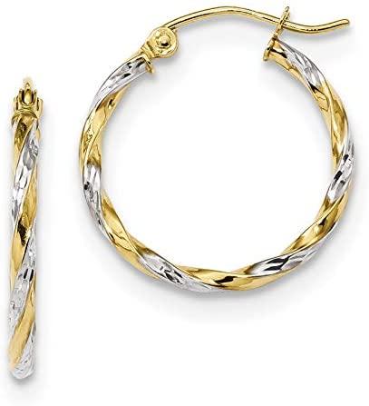 10k & Rhodium Hollow Twisted Hoop Earrings