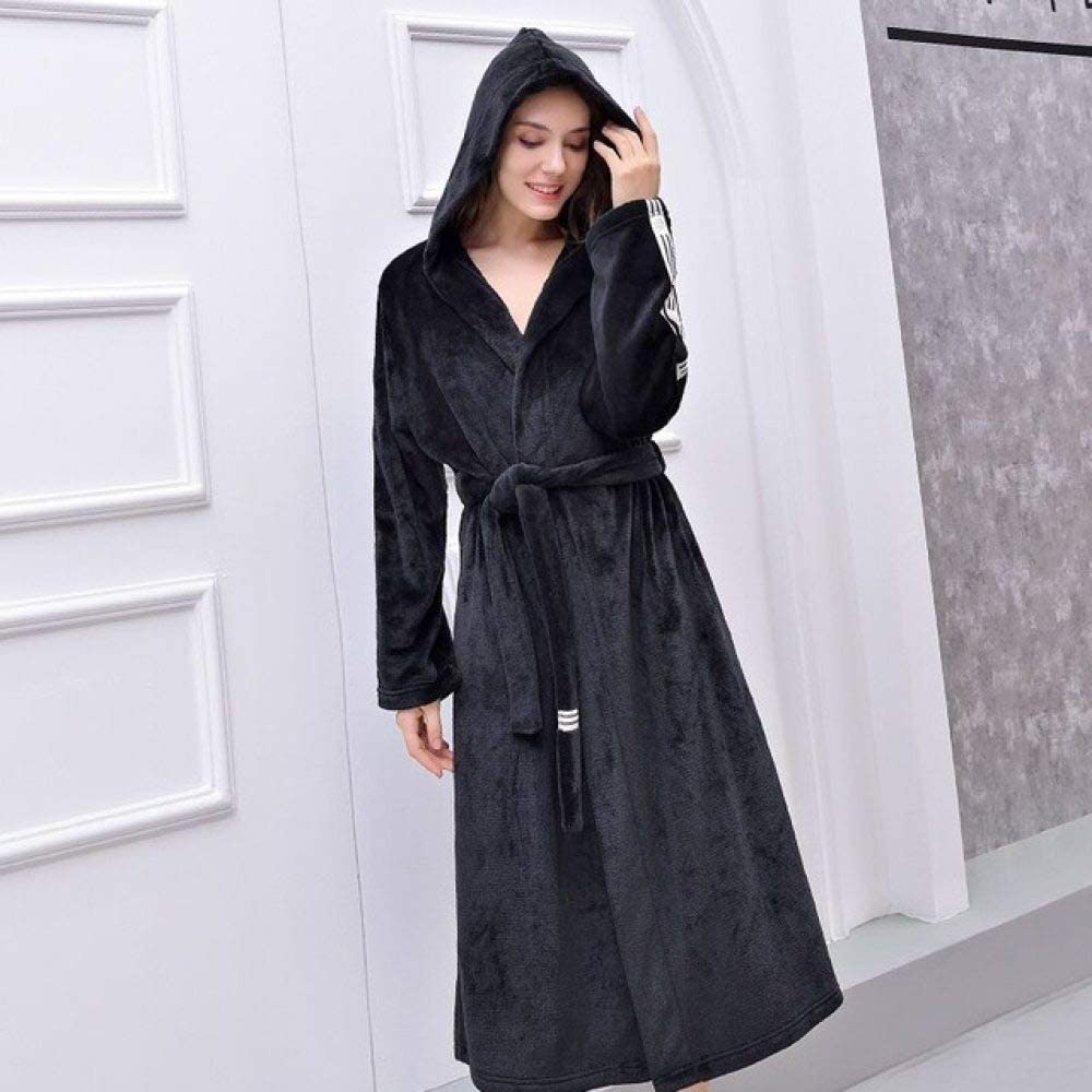 llwannr Bathrobe Robe Nightgown Sleep,Winter Unisex Bathrobe Women Men Thicken Warm Flannel Robes Lovers Plus Size Kimono Bath Robe Couples Dressing Gown,Unisex,Hooded,Black,XXL