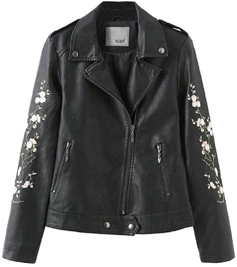 Kghsdydgy Women Slim Fit Embroidered PU Leather Solid Color Trench Coats Jacket