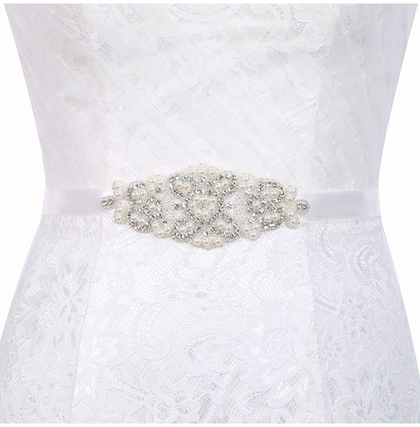 Brishow Handmade Rhinestone Bride Belts Silver Crystal Wedding Bridal Belt Sashes Beaded Belt for Women Dress Accessories