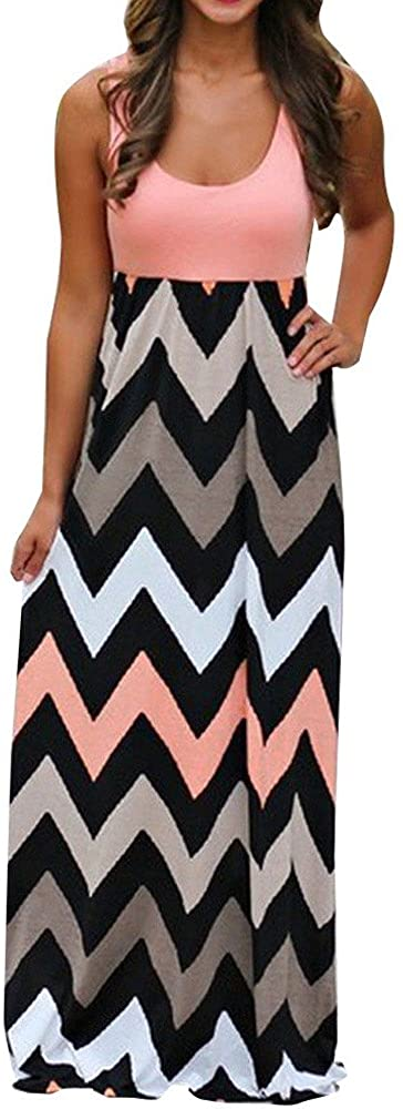 ZEFOTIM Womens Beach Summer Plus Size Striped Long Boho Dress Lady Sundrss Maxi Dress