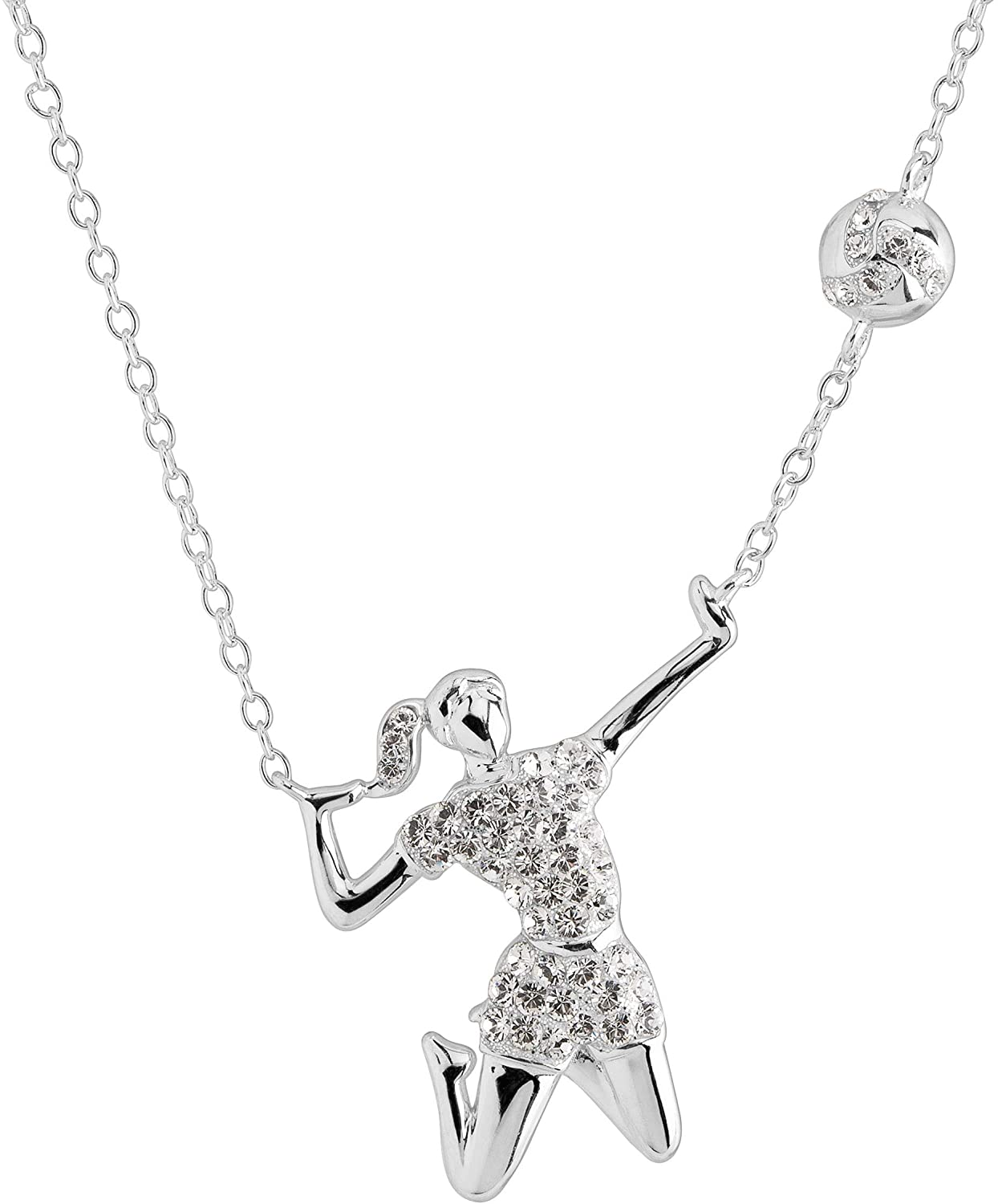 Crystaluxe Volleyball Player Necklace with Swarovski Crystals in Sterling Silver, 16