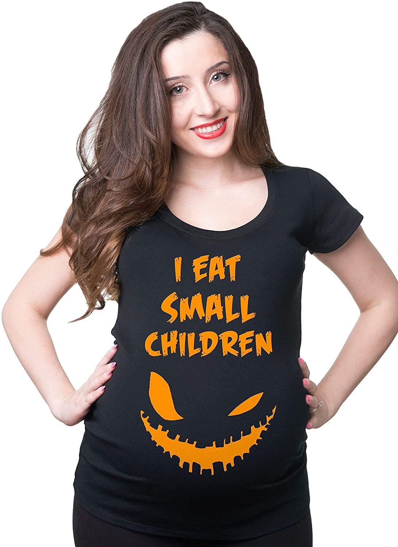 Halloween Maternity Funny I Eat Small Children T Shirt Funny Halloween Pregnancy Costume T Shirt