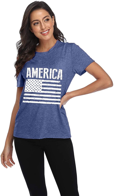 MYHALF Womens 4th of July USA Flag Print Tee Shirt Short Sleeve Casual Patriotic American Flag T-Shirt Top