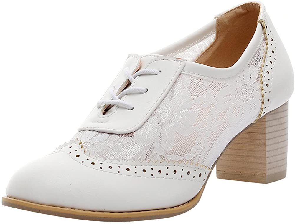ANUFER Womens Elegant Lace Bridal Wedding Shoes Block Heel Oxfords Dress Shoes