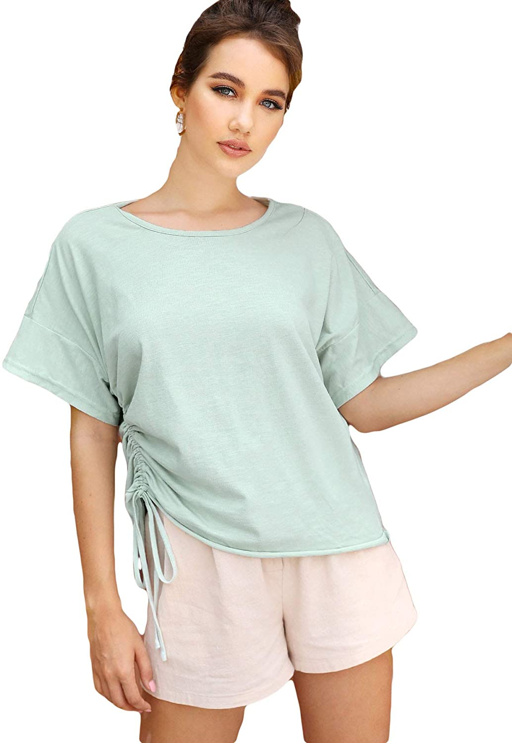 Romwe Women's Casual Short Sleeve Drawstring Side Solid Loose Cotton Tops Tee T-Shirts