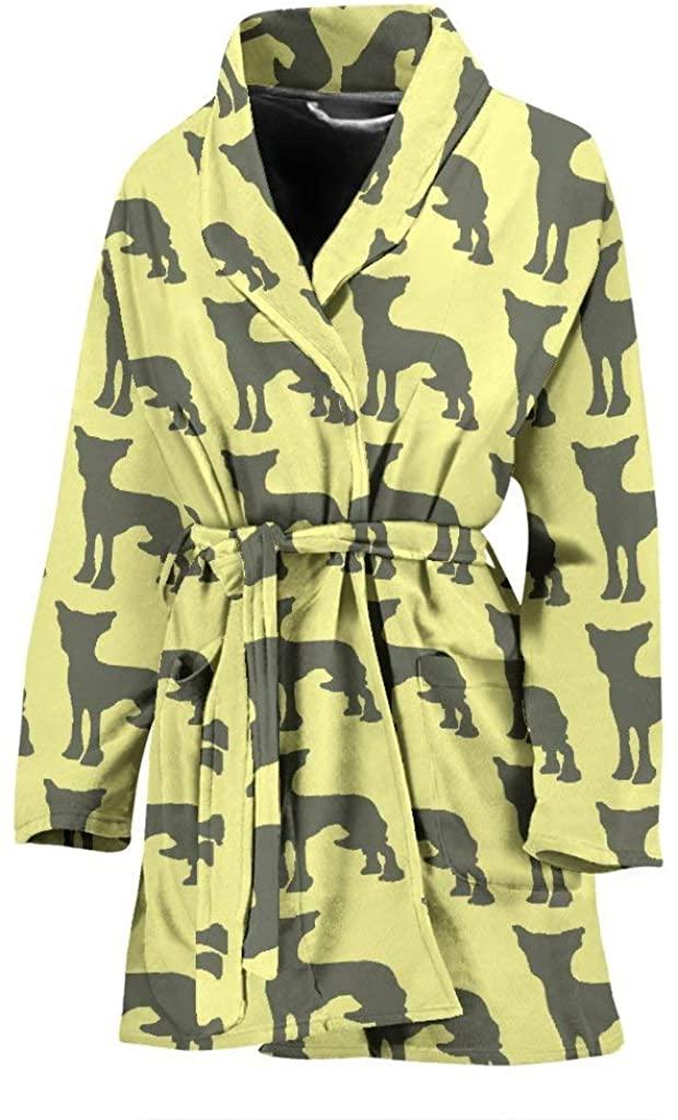 Chinese Crested Dog Pattern Print Women's Bath Robe