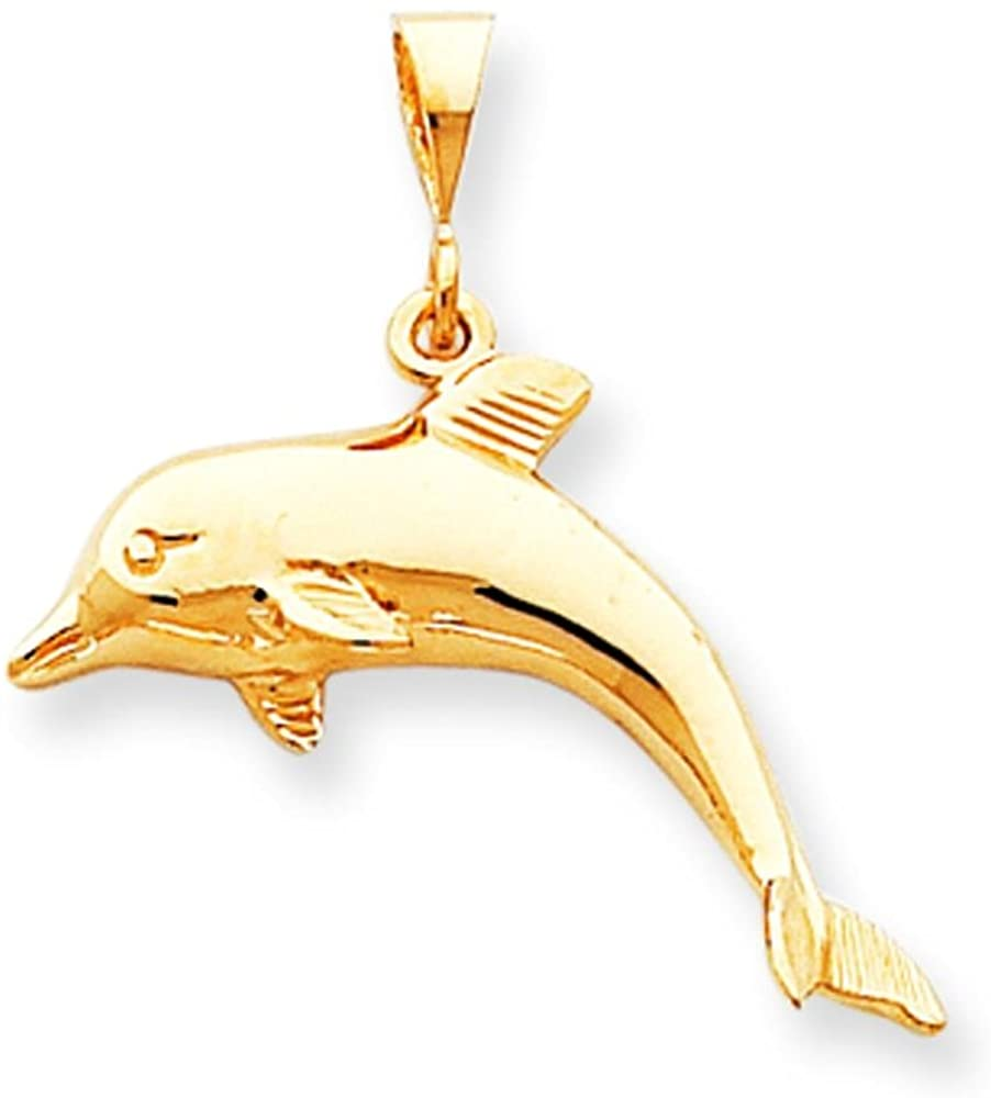 10K Yellow Gold Jumping Dolphin Charm Ocean Jewelry