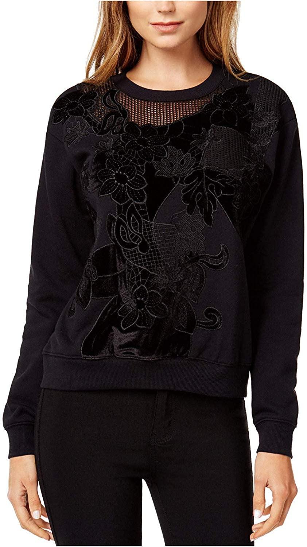 Bar III Womens Velvet-Applique Sweatshirt