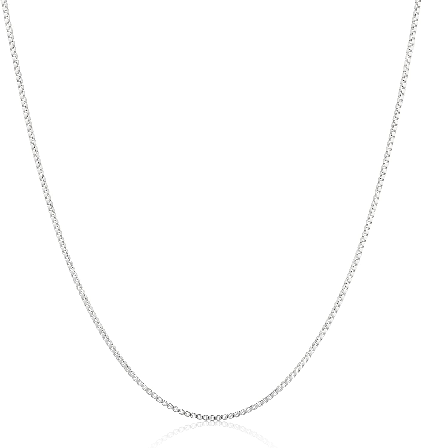 Sterling Silver Thin 0.6mm Box Chain Necklace