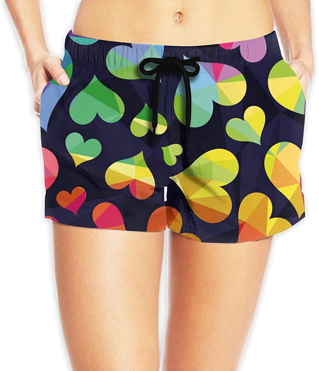 Polygonal Rainbow Heart Women's Beach Shorts Board Shorts with Pocket Swimming Trunks