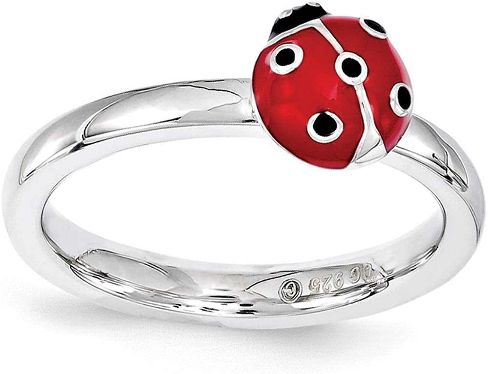 Jewels By Lux Sterling Silver Stackable Expressions Red & Black Enamel Ring