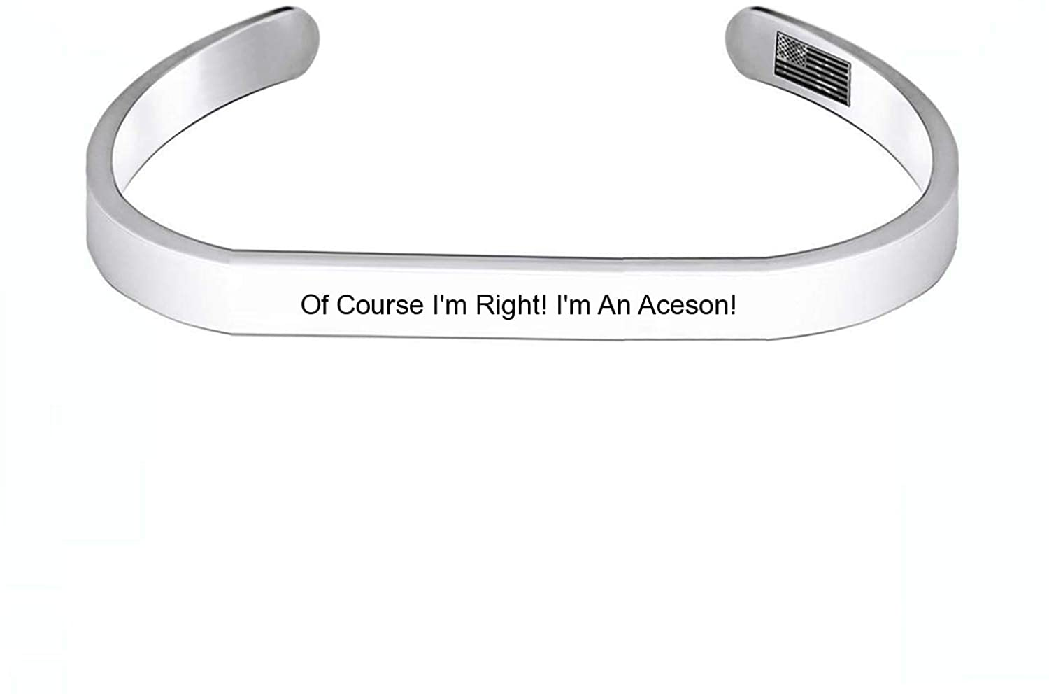 Enhome Cuff Bracelets of Course I'm Right! I'm an Aceson! for Women Birthday Gifts for Her Silver Cuff Bangle American Flag Bracelet