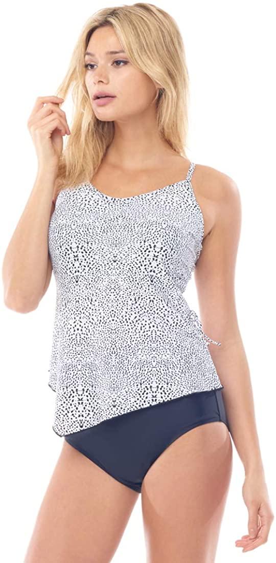 Sea Sand Swimwear Speckle Print Two Piece Tie Side Tankini Set
